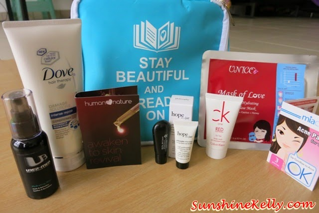 Stay Beautiful & Read On Bag of Love, Bag of Love, CK One Red, Uberman Hydrating MIst, Hove Hair Intense Repair, Miacare Acne Patch, Covo HD BB Cream, Human Nature, Overnight Elixir, Mask of Love, Unico, Philosophy, Hope in a jar, Nuxe nirvanesque, beauty bag