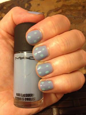 M.A.C, M.A.C Cosmetics, MAC, MAC Cosmetics, polka dot nails, nail art, M.A.C Baking Beauties Collection, M.A.C Bleu Velvet, M.A.C Pistachio, nail polish, nail varnish, nail lacquer, manicure, mani monday, #manimonday, nails