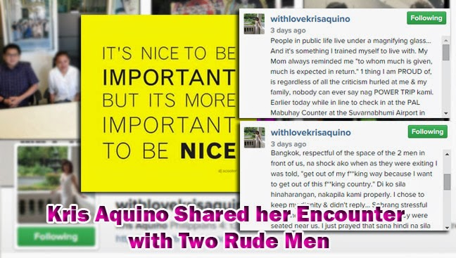 Philippines' President Sister Kris Aquino Shared her Encounter with Two Rude Men