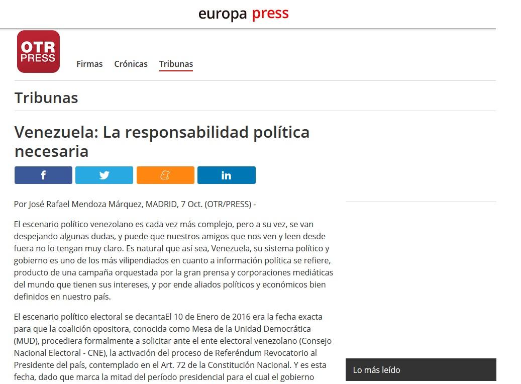 Venezuela: La responsabilidad Política Necesaria