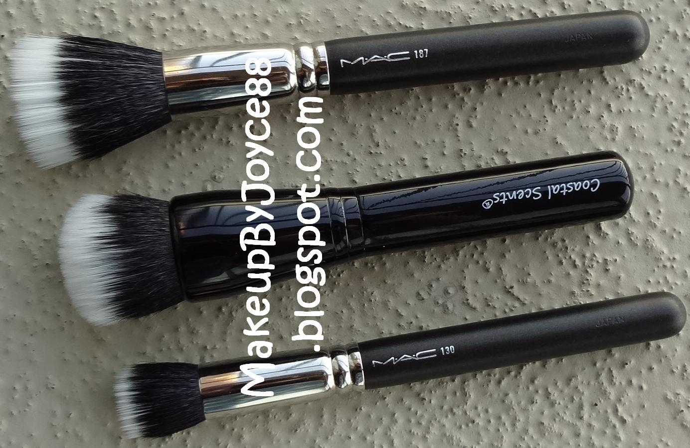 coastal scents brushes. from top to bottom: mac 187 brush, coastal scents divine powder buffer 131 brush brushes