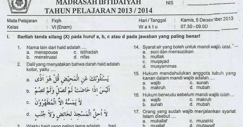 Mi Ma Arif Nu Pasunggingan Soal Fikih Kelas Vi Uas 2013