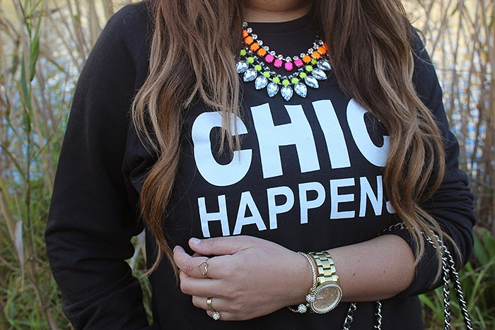 ombre hair, zara chain bag, mr price, ray ban aviators, mac impassioned lipstick, boyfriend jeans, neon necklace