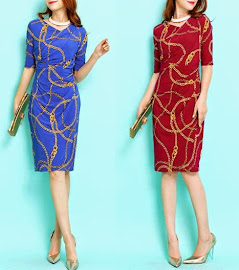 New 2015 Release Half Sleeve Asymetrical Collar Gold Chain Blue Dress