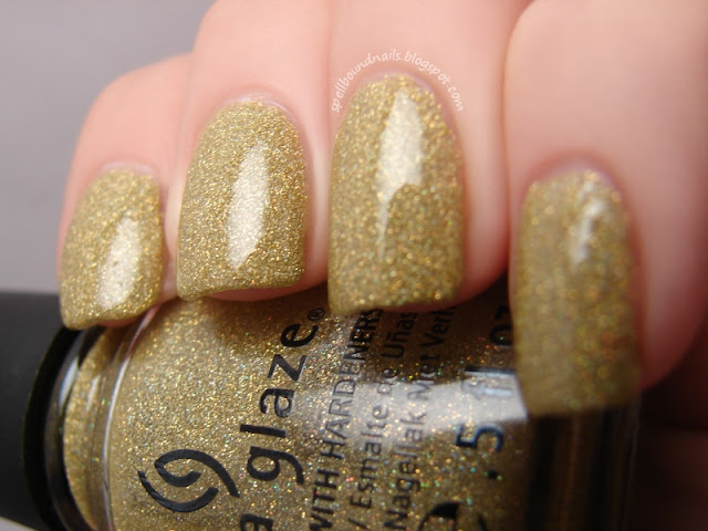 nails nailart nail art polish mani manicure Spellbound China Glaze Holiday Joy Collection color swatch Angel Wings gold green holo holographic glitter