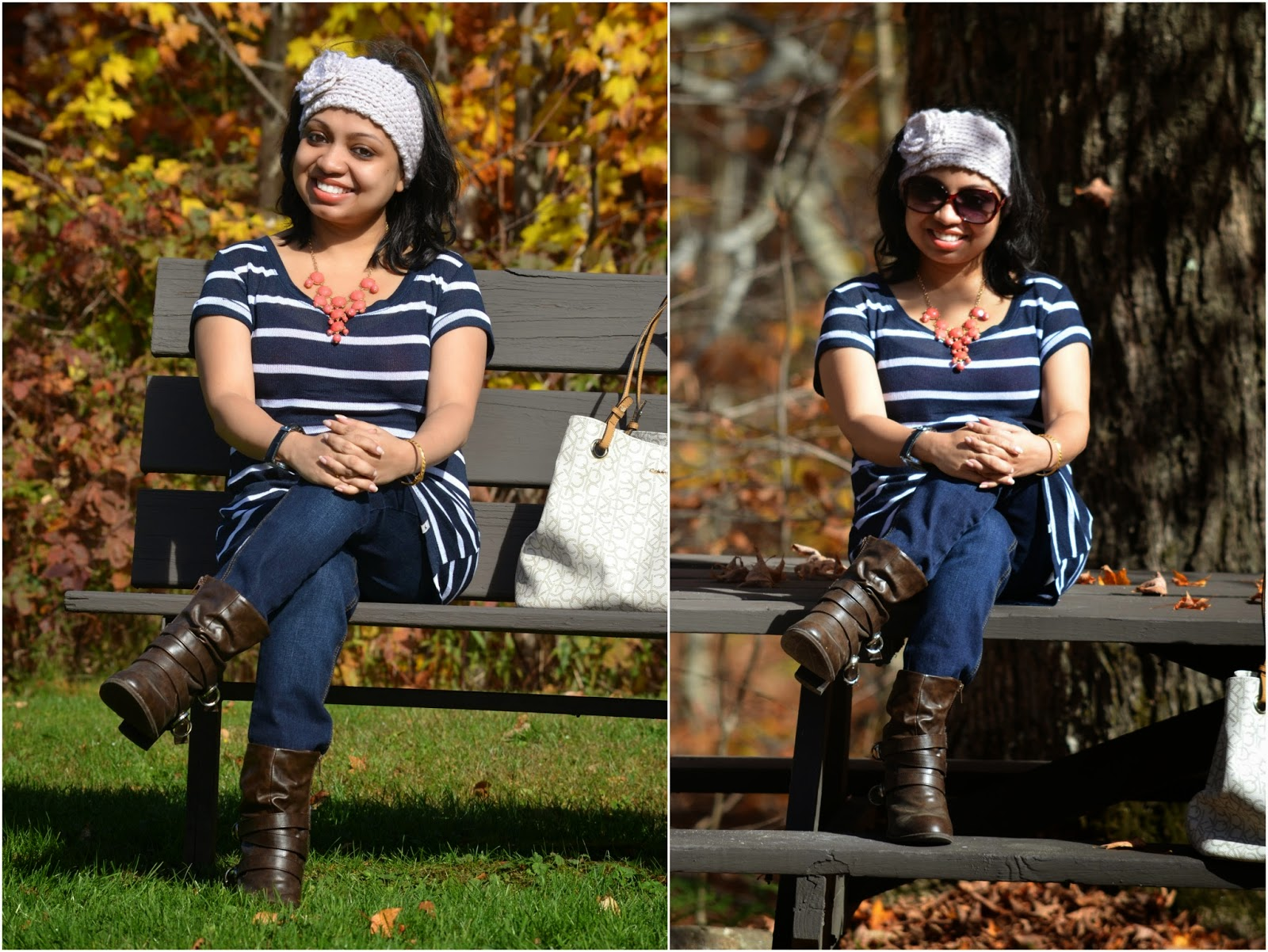 fall fashion, fall outfit, maternity fashion, fall OOTD, outfits in Vermont, Motherhood Jeans, Maternity Jeans, Hollister top, Hollister Sweater, Stripe sweater, brown leather boot, coral necklace, Calvin klein tote