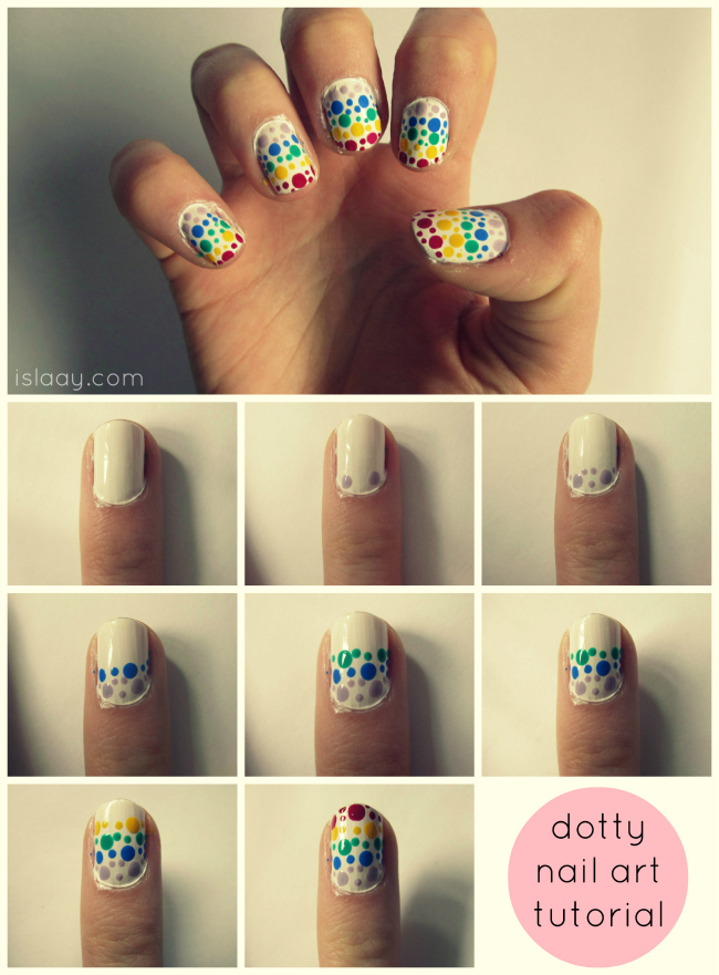 A picture of dotty polkadot rainbow nail art utorial using a dotting tool fom eBay