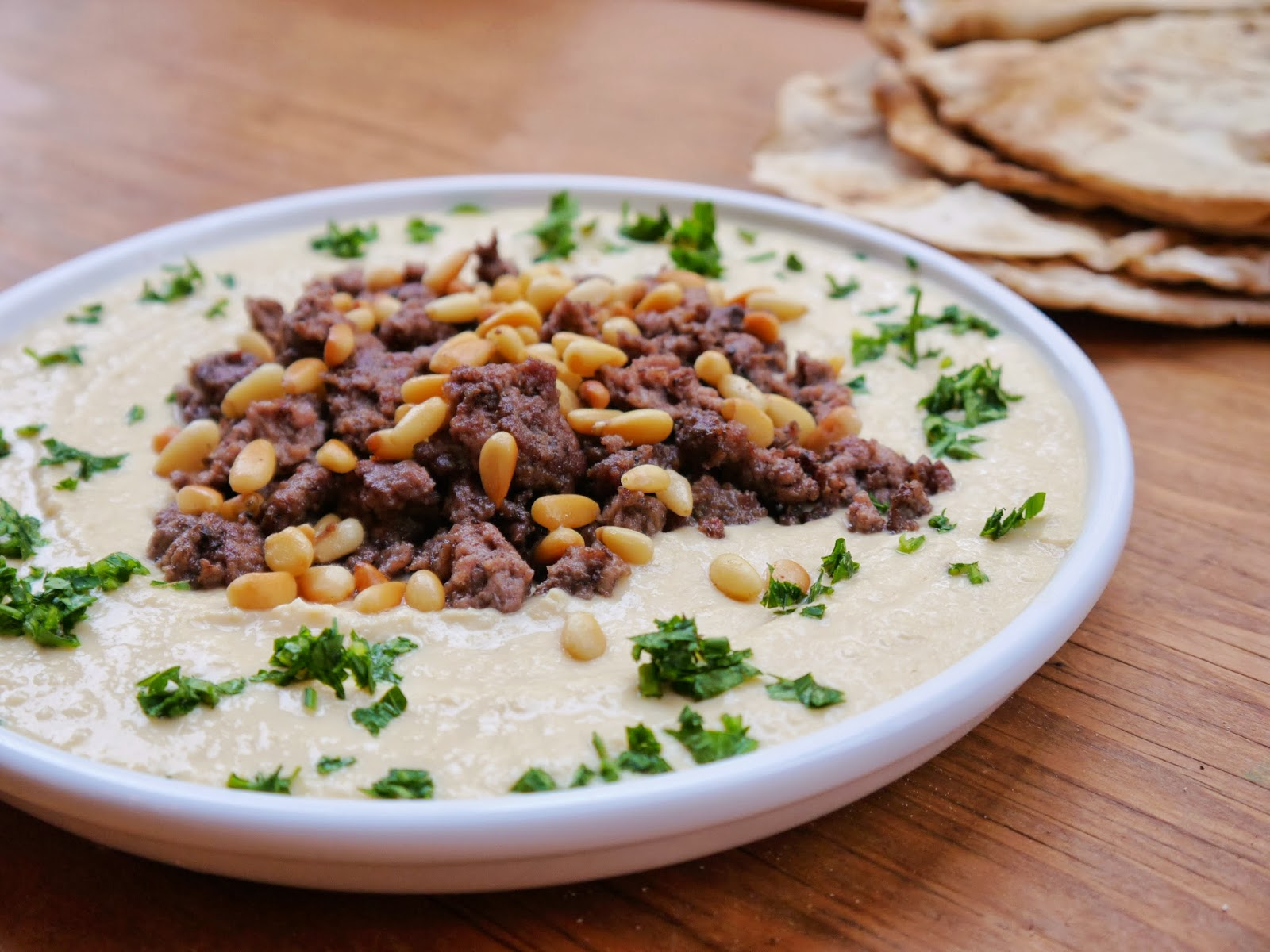 Bint rhodas kitchen welcoming autumn hummus with spiced lamb or here is a way to spice up your hummus serve it topped with warm spiced minced lamb and toasted pine nuts add a pile of hot arabic bread and some fresh forumfinder Image collections
