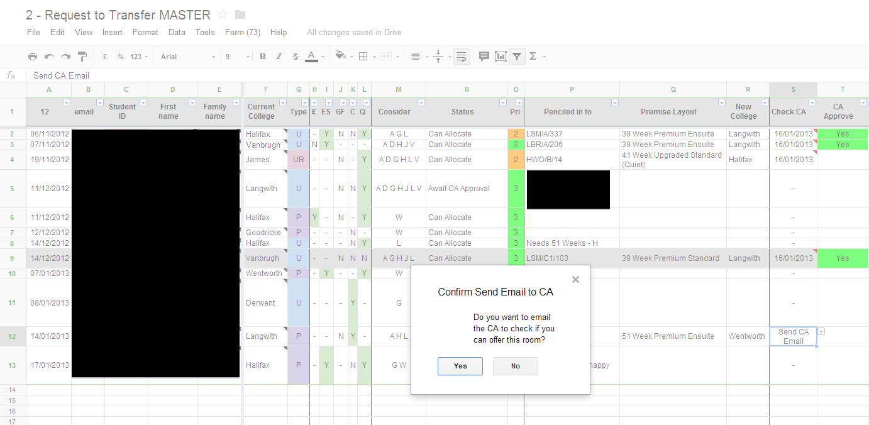availability spreadsheet