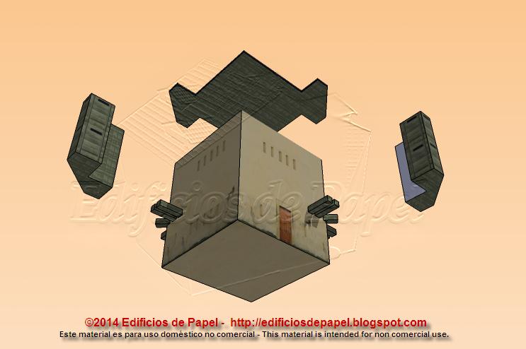 Tejado, vigas, garitas y edificio son los elementos a construir en papel