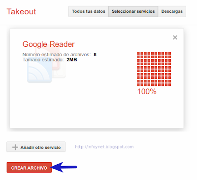 Crear archivo de datos de Google Reader desde Google Takeout