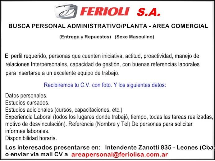 ESPACIO PUBLICITARIO: FERIOLI S.A.