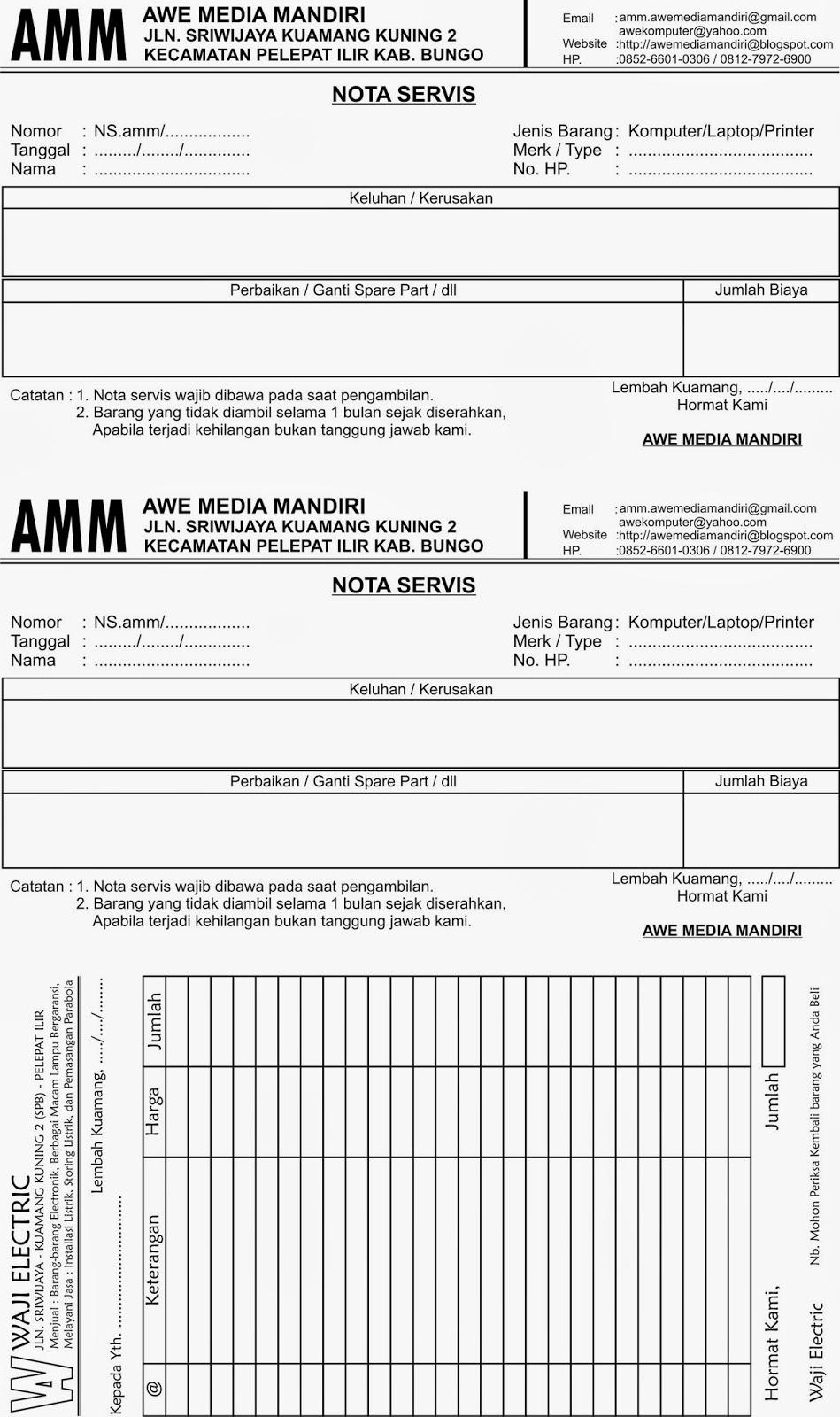 Contoh Nota Faktur Service Pengertian Faktur Dan Contohnya