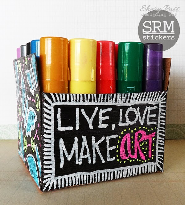 SRM Stickers Blog - Kraft Box + Chalk Markers = Fun Art Supply Holder by Shery - #kraftboxes #chalkmarkers #chalkboard #storage #EASYchalkboardmarker #altered #DIY