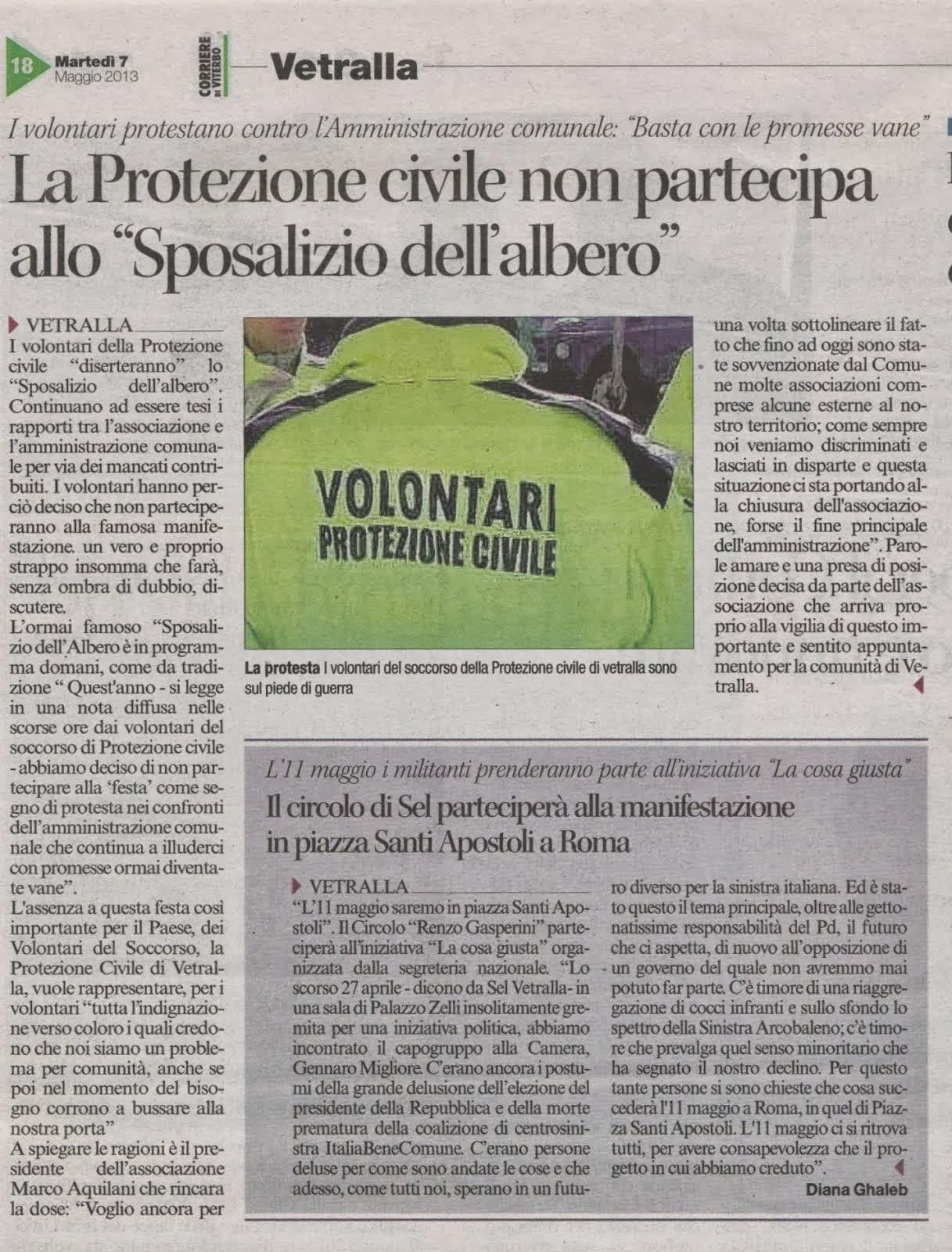 """Vetralla: La Protezione Civile non partecipa allo """"Sposalizio dell'albero"""""""