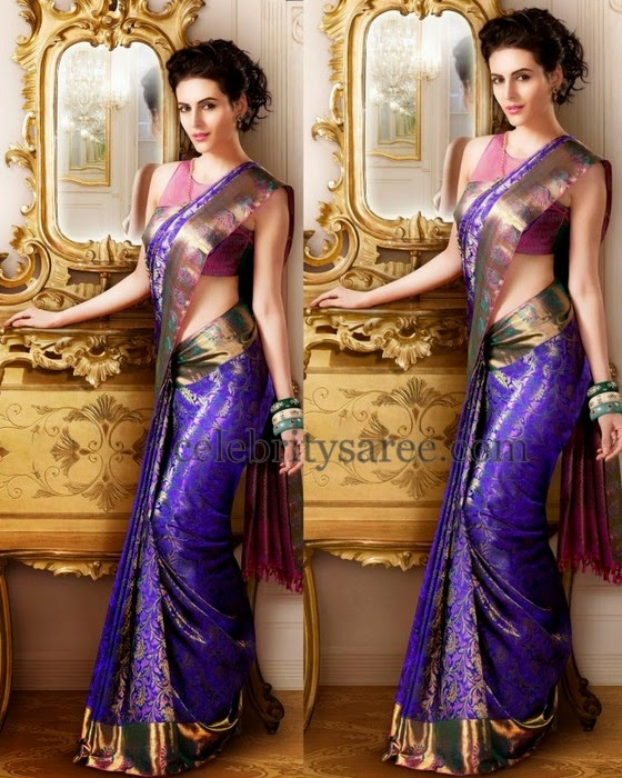Model in Purple Wedding Silk Saree