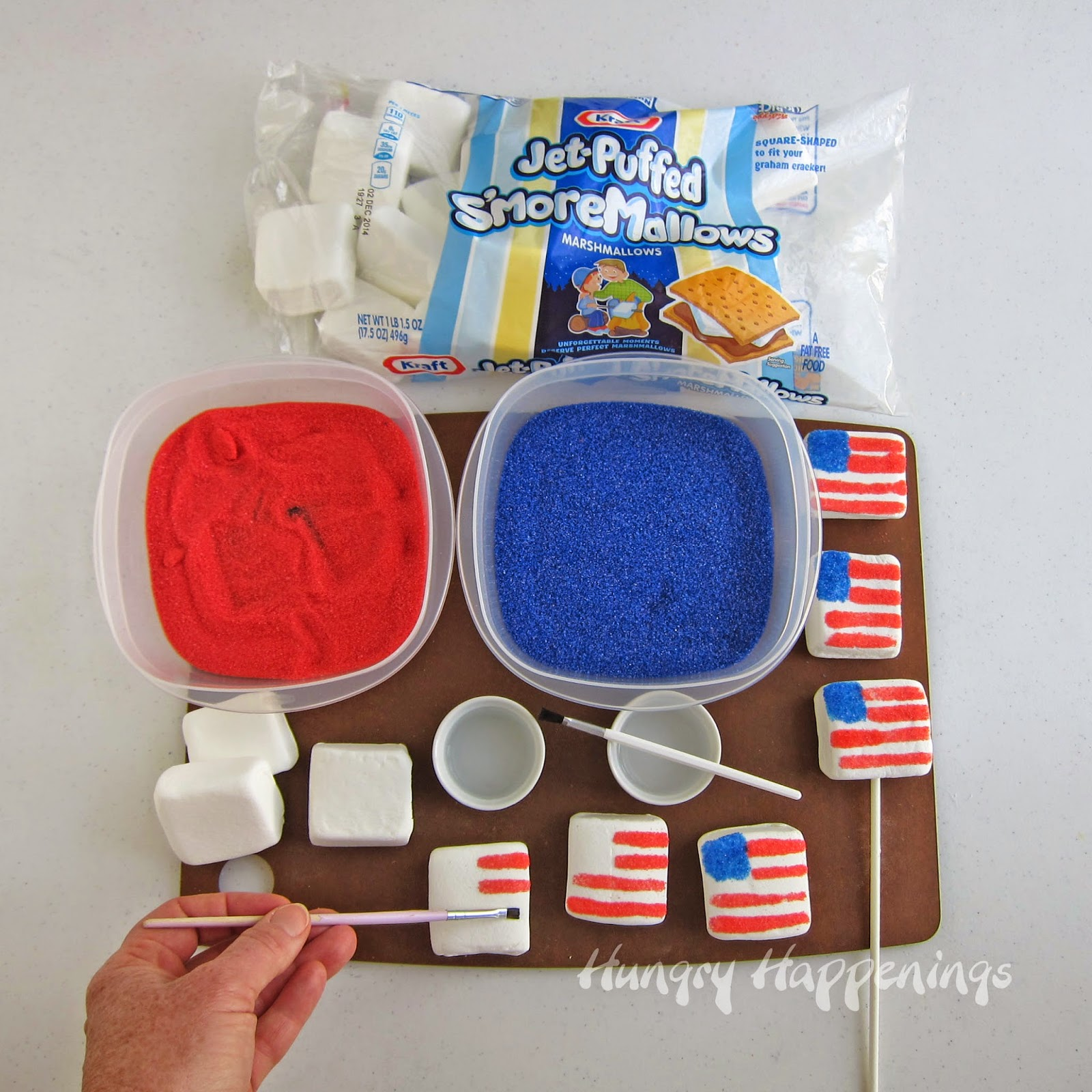 4th of July recipe decorating marshmallow flags