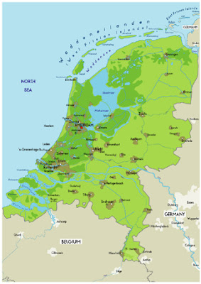 Physical Map of Netherlands