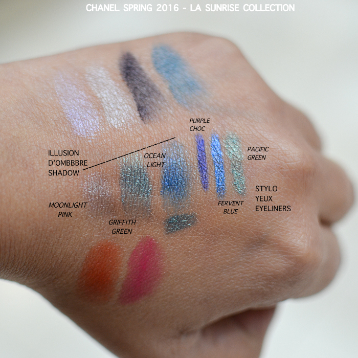 Chanel LA Sunrise Spring 2016 Makeup Collection Photos Swatches Illusion Dombre Cream Eyeshadows Moonlight Pink Griffith Green Ocean Light Stylo Yeux Eyeliners Pacific Green Purple Choc Fervent Blue