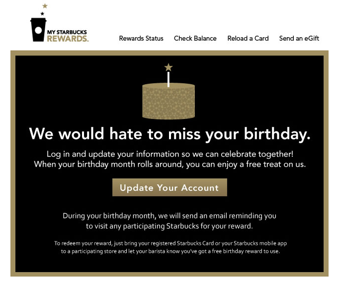 Add your birthday in Starbucks and get a free reward annually – Starbucks Card Birthday Month