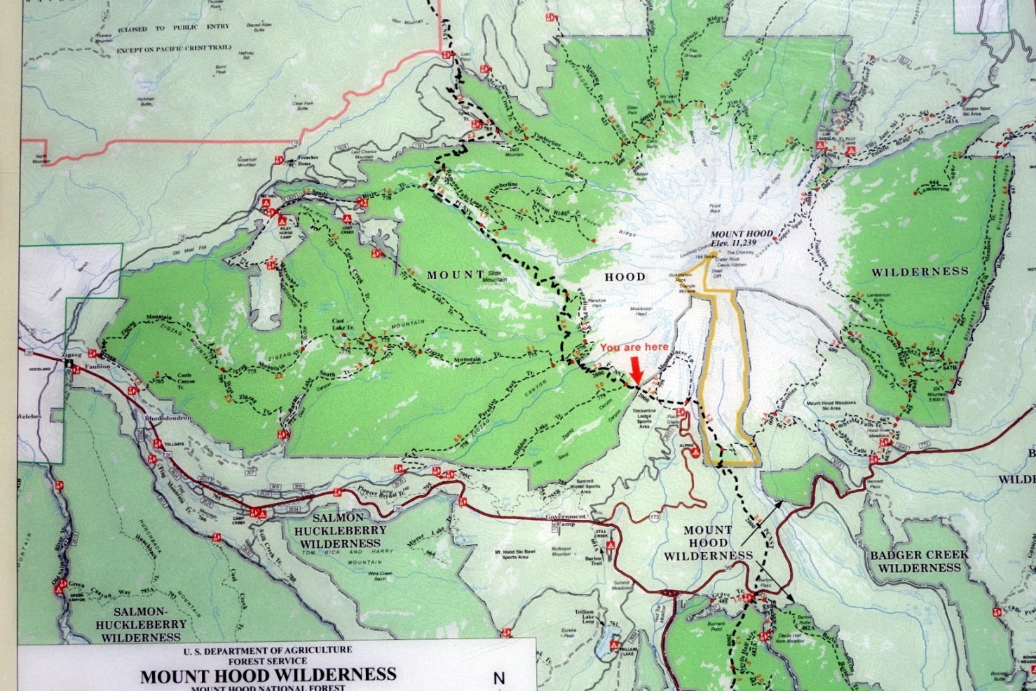 mount hood wilderness map