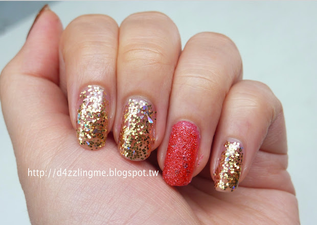 d4zzling gold bling nails