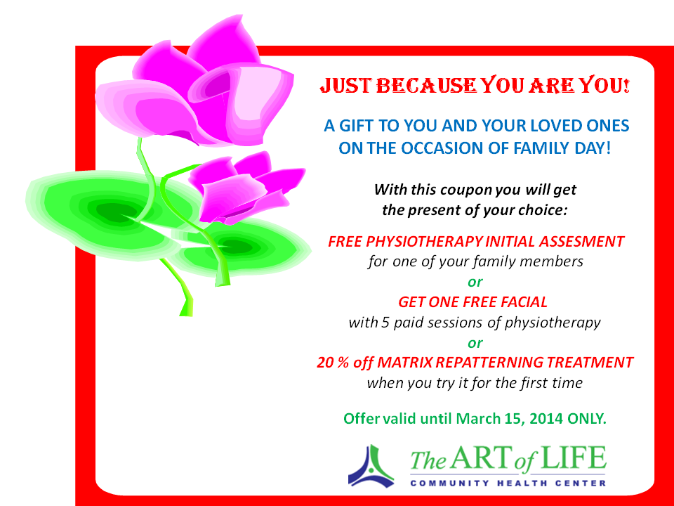 Family Day Coupon, Art of Life Health Centre