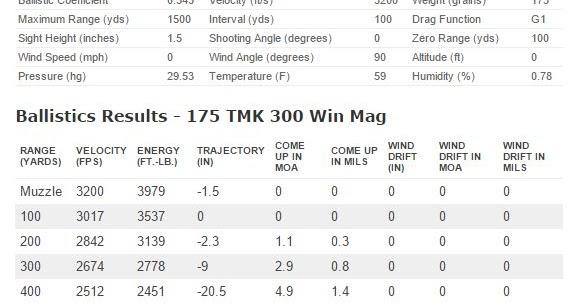 300 win mag ballistic chart