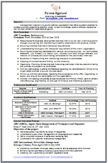Download Resume Format
