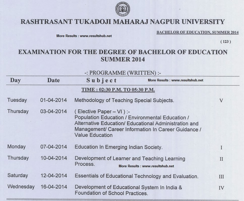 Nagpur University B.Ed. Summer 2014 Timetable