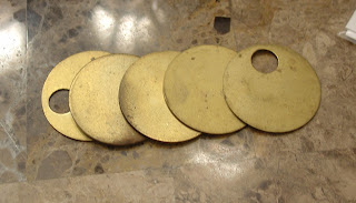 Round miners tabs Vicky bought at Cameron Antiques Show