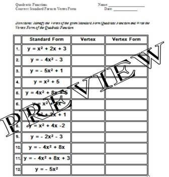 Graphing quadratics in standard form worksheet pdf
