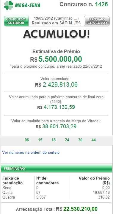 Mega Sena concurso 1426 - Resultado - 19-09-2012