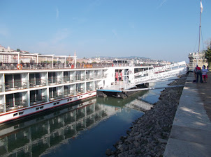 Small cruise ship restaurants on Danube river in Budapest.