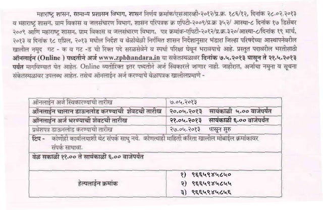Zilla Parishad Bhandara Recruitment Details Posts vacancy 2013