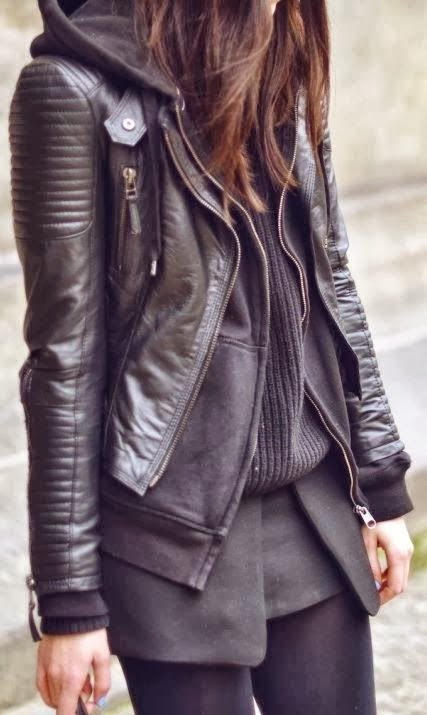 Black leather coat, cardigan, sweater and leggings for fall