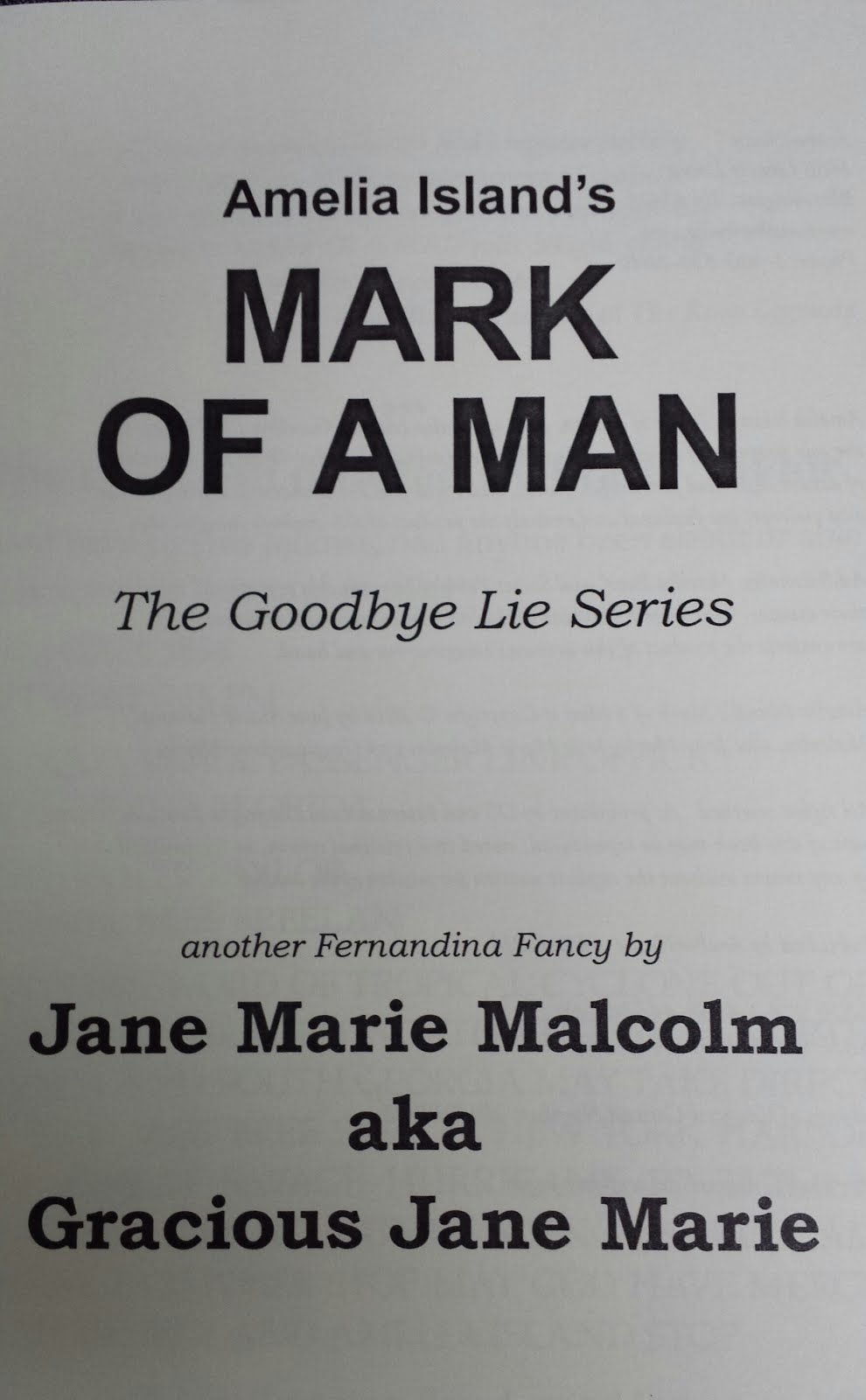 Click on the Title Page below to read the Opening Pages of Amelia Island's Mark of a Man