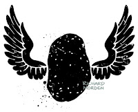 stencil art style potato with wings