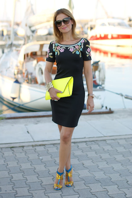 summer elegant outfit, little black beaded dress, Chi Chi regina dress, neon yellow clutch, Fashion and Cookies