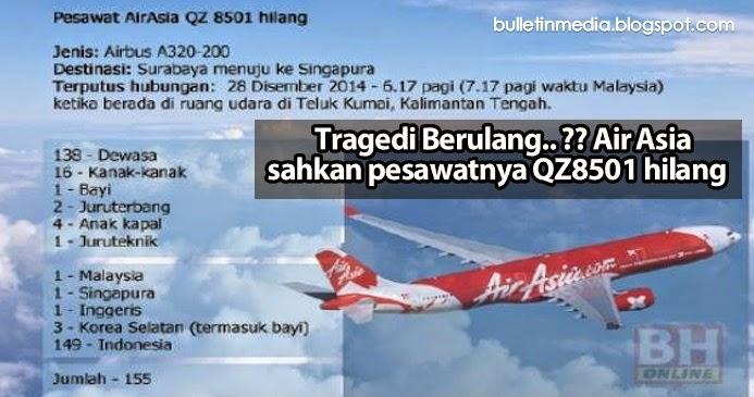 Tragedi Berulang..? Air Asia sahkan pesawatnya QZ8501 hilang