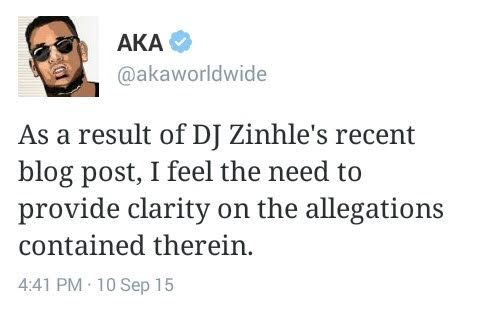 AKA denies affair with Bonang Matheba. 2