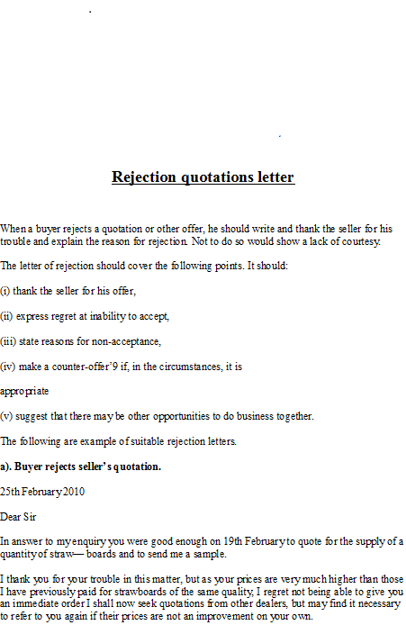 Business Letter Samples Rejection Quotations Letter