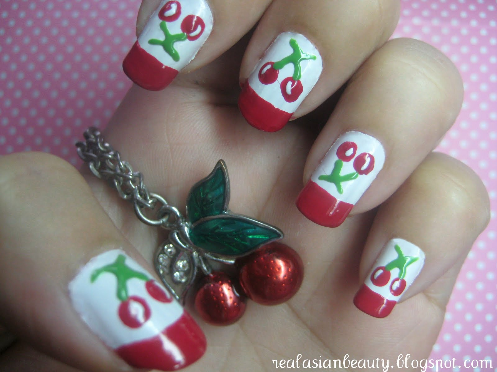 Real Asian Beauty Cute Cherry Nail Art