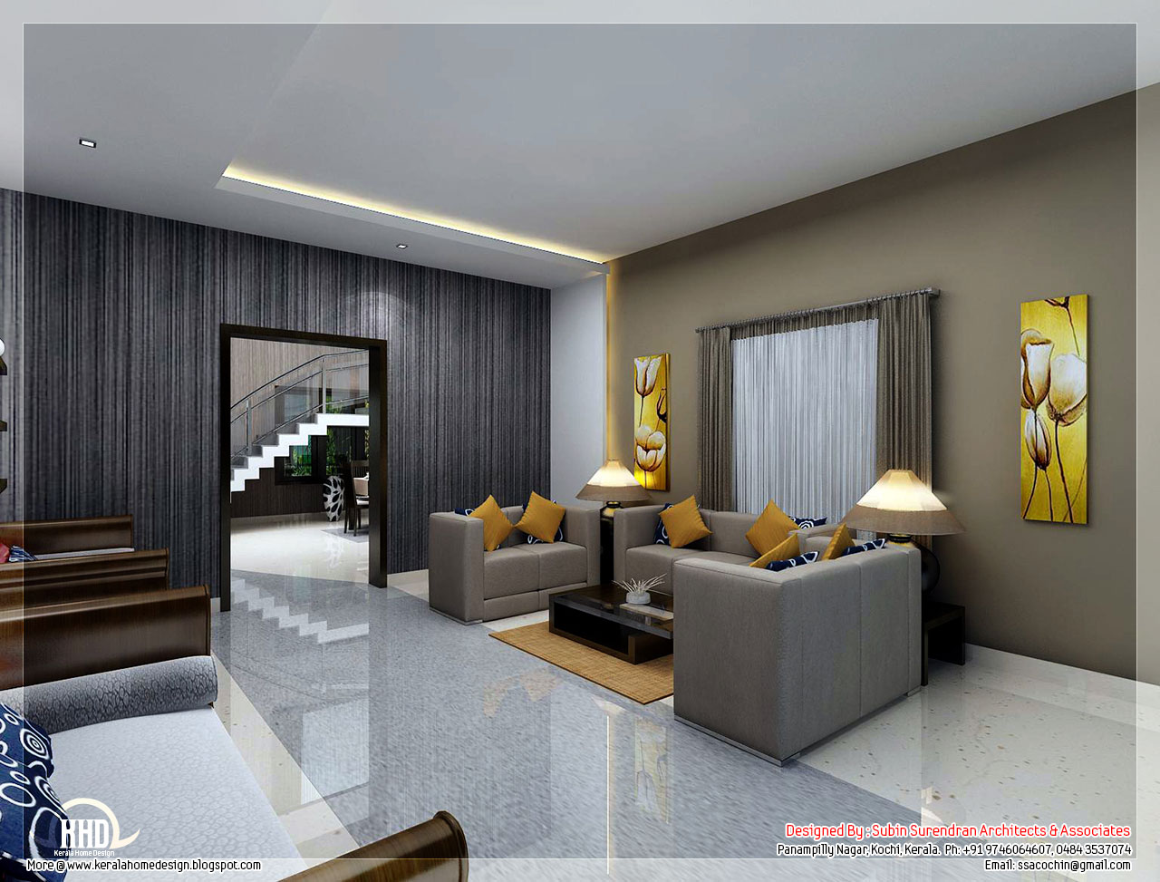 Awesome 3d interior renderings kerala house design for Design home living room