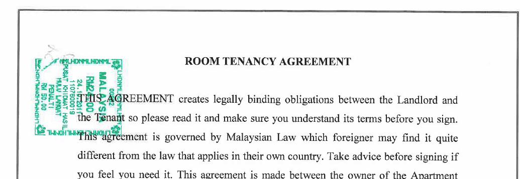 Stamping Tenancy Agreement Oh Stamping Tenancy Agreement Klse Malaysia