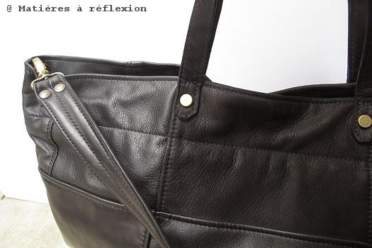 Cabas cuir noir vintage Matières à réflexion