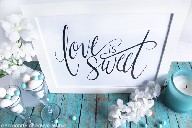 wedding art, candy bar sign, love is sweet framed art, calligraphy, anniversary