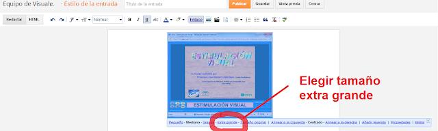 La imagen nos dice exactamente dónde se encuentra el botón de extra grande para imágenes en la plantilla de edición de un post