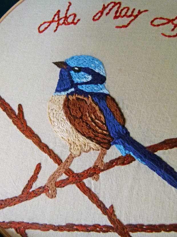 Blue Wren Embroidery Close Up