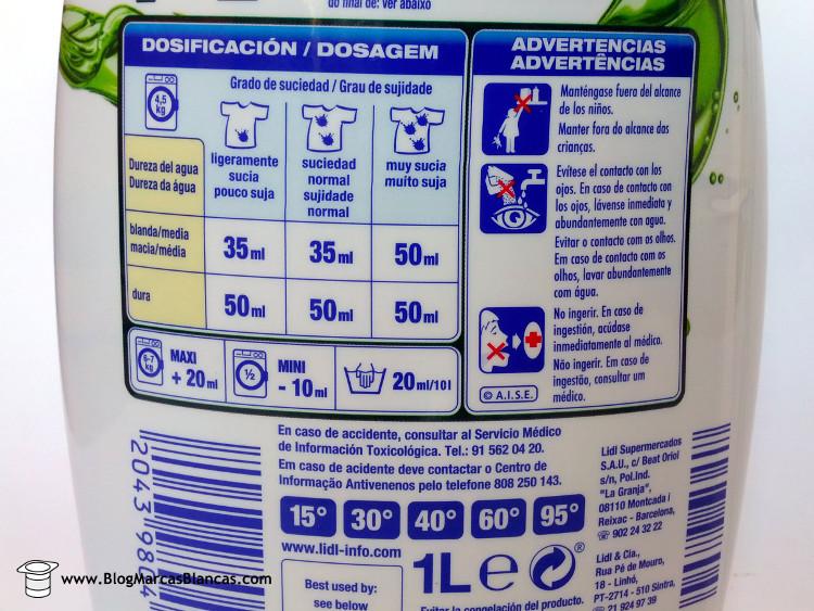 Consejos de uso del detergente líquido Formil Activo superconcentrado de Lidl.